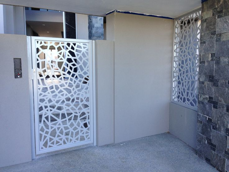 Screen Art Security Gate And Side Feature For Main Apartment Entrance.  Atomic Pattern. Http
