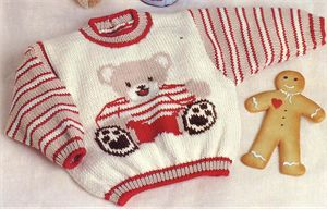 Babies Knitting Patterns Teddy Bear Motif Sweater Knitting Pattern