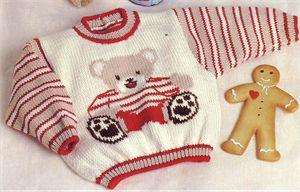 Babies Knitting Patterns Teddy Bear Motif Sweater Knitting Pattern