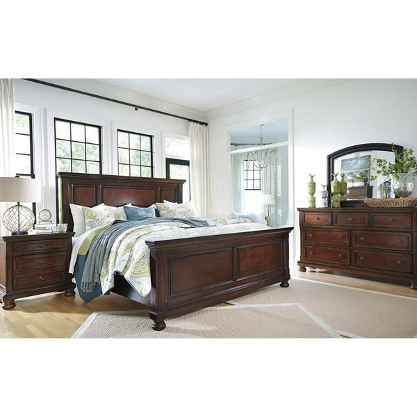 Beautiful and rustic Porter King Panel Bed by Ashley Furniture. Luxurious cherry brown finish king size bed with an amazing transtional design.