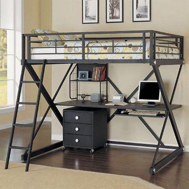Best Black Metal Loft Bed With Desk Inspirations Black Metal
