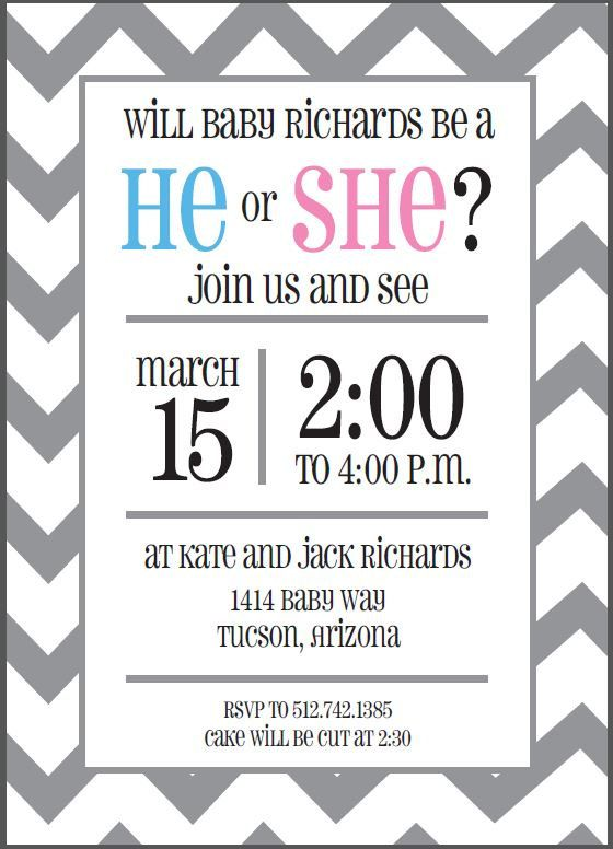 custom gray chevron gender reveal invitation printable - Free Printable Gender Reveal Party Invitations