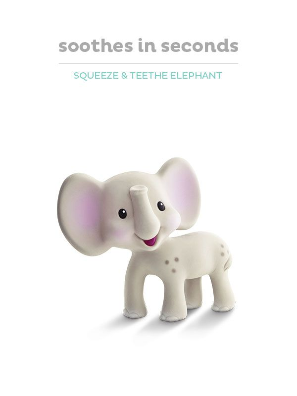 The Go GaGa Squeeze & Teethe Elephant is soft, flexible and easy to grab.