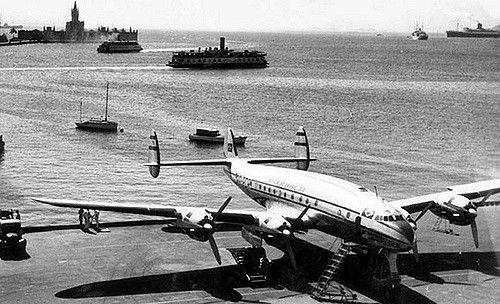"""Panair do Brasil. Lockheed L.049-46-27 Constellation. Registro PP-PDP (cn 2052). Aeroporto Santos Dumont, Rio de Janeiro.  Registro fotográfico encontrado na rede durante minhas pesquisas. Informações adicionais sempre serão bem vindas.  Breve histórico da aeronave:  Construído no ano de 1946, foi equipado com quatro motores Wright R-3550, adquirido novo pela American Overseas Airlines, matriculado N90922, batizado de """"Flagship Denmark"""".  Permaneceu na American Overseas Airlines até o ano…"""
