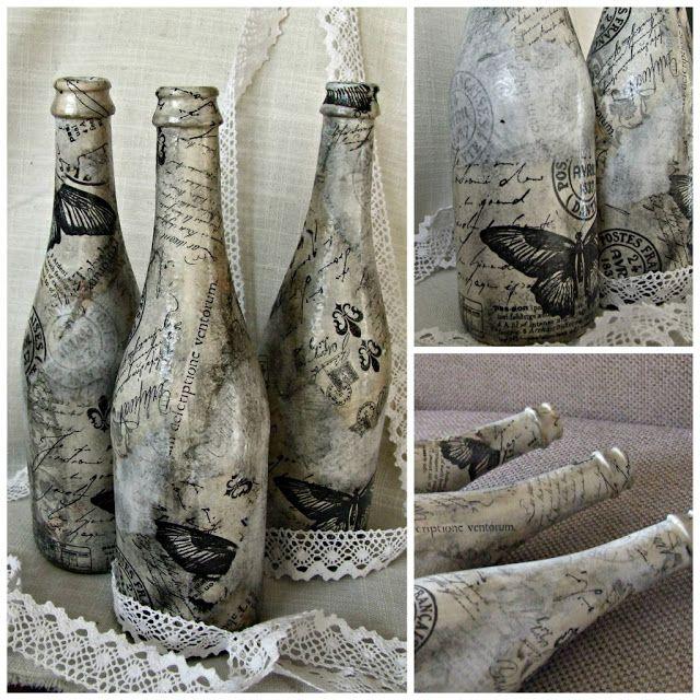 wazony decoupage rękodzieło w stylu rustykalnym eco manufaktura
