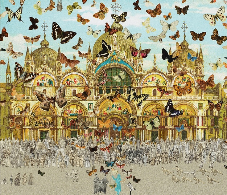 Peter Blake, colours look dull closer to the ground, butterflies get more bright as they fly further into the sky, could show freedom