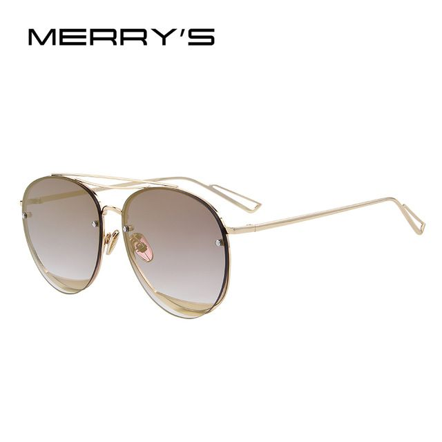 a78ec83c71 MERRY S 2017 New Arrival Women Classic Brand Designer Rimless Sunglasses  Twin Beam Metal Frame Sun Glasses S 8096