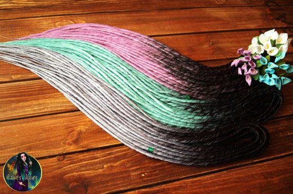 Full set ombre DE dreads black mint light gray pink hair accessories extensions double ended dreadlocks #afflink