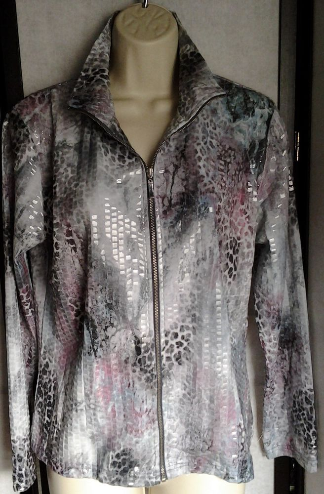 BIRCH HILL Women's JACKET BLAZER Size Petite MEDIUM Gray Pink SNAKE PRINT Zip Up #BIRCHHILL #JACKET