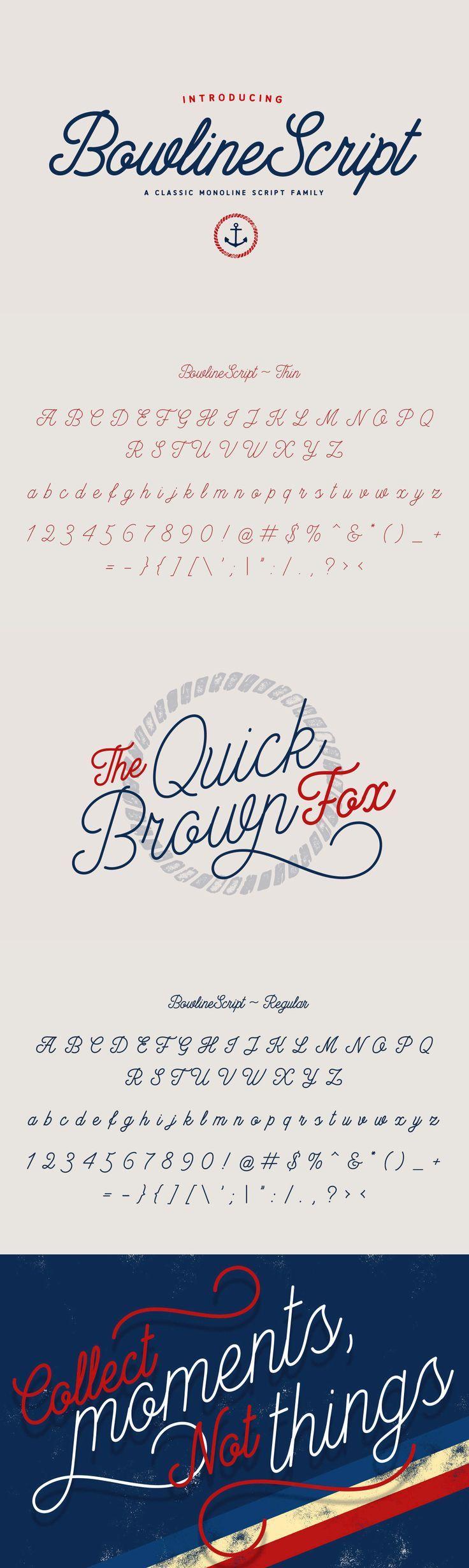 Bowline Script - Bowline Script is a classic monoline cursive script font. This family of 3 fonts has 2 wei...