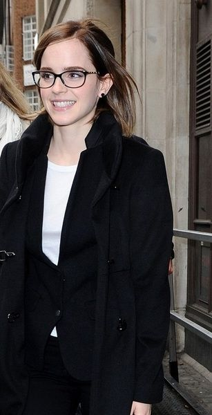 Emma Watson's glasses - more delicate and in brown, rather than black. Style: Chanel 3221Q Chain Glasses Pencil (apparently)
