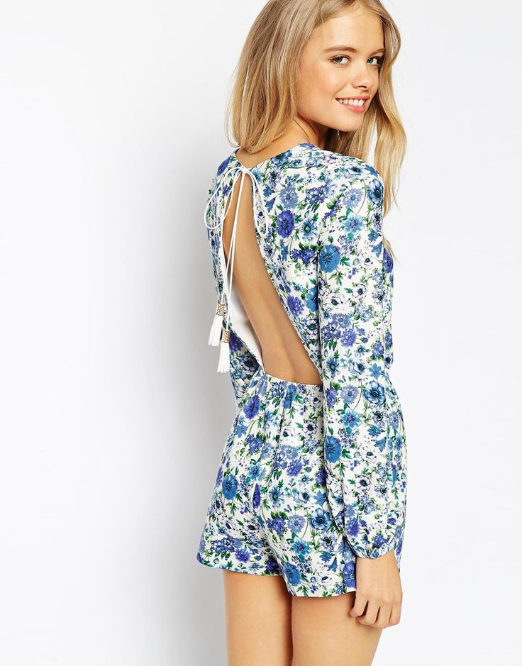 Image 1 of ASOS Playsuit in Pretty Floral Print with Tassle Tie