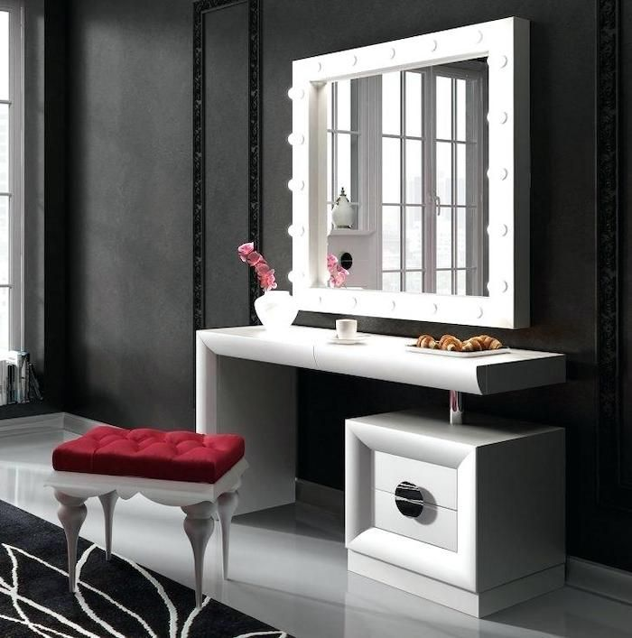 Black Makeup Vanity Black Wall White Shelf And Drawer Mirror With Lights Red Velvet Stool Vanity Bedroom Makeup Vanity Vanity Lighting