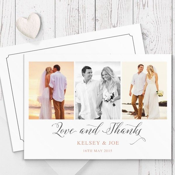 Custom Wedding Photo Thank You Cards Printed On Luxury Cardstock Double Sided By Peach