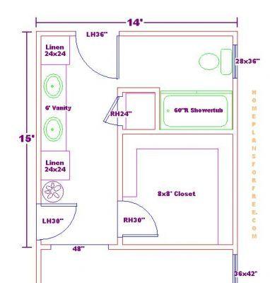 Master Closet And Bath Floor Plan Ideas Master Bathroom Design 14x15 With Deck Master Bath