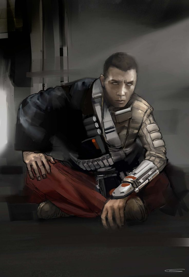 Blind warrior Chirrut (Donnie Yen) underwent several different looks with and without hair. Multiple designs were made for how his eyes should appear. Here's one of them.