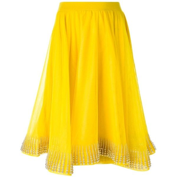 Manish Arora Embellished Hem Flared Skirt ($727) ❤ liked on Polyvore featuring skirts, skater skirt, yellow skirt, flared skirt, embellished skirt and circle skirt