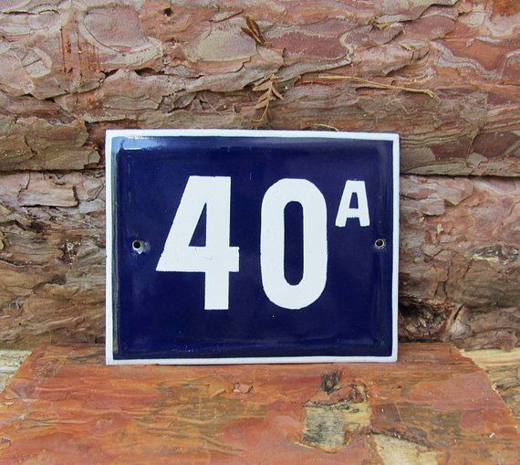 Vintage Enamel House Number 40a Sign Blue And White Door Numbers Antique Street Sign Enameled Porcel House Numbers Retro Home Decor