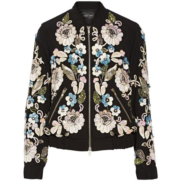 Needle & Thread Oriental Garden embellished crepe bomber jacket (£350) ❤ liked on Polyvore featuring outerwear, jackets, coats & jackets, tops, needle & thread, black, floral print bomber jacket, black sequin jacket, collar jacket and black zipper jacket