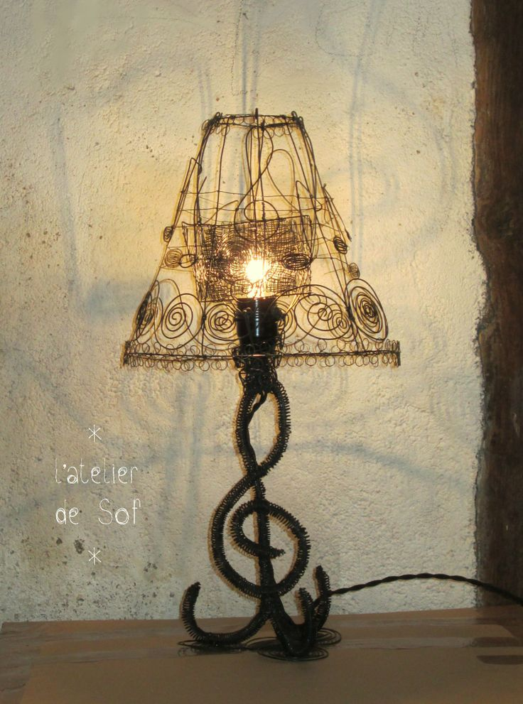 146 best lmparas images on pinterest lamp shades lampshades luminaire entirement fabriqu en fil de fer by latelierdesof greentooth Gallery