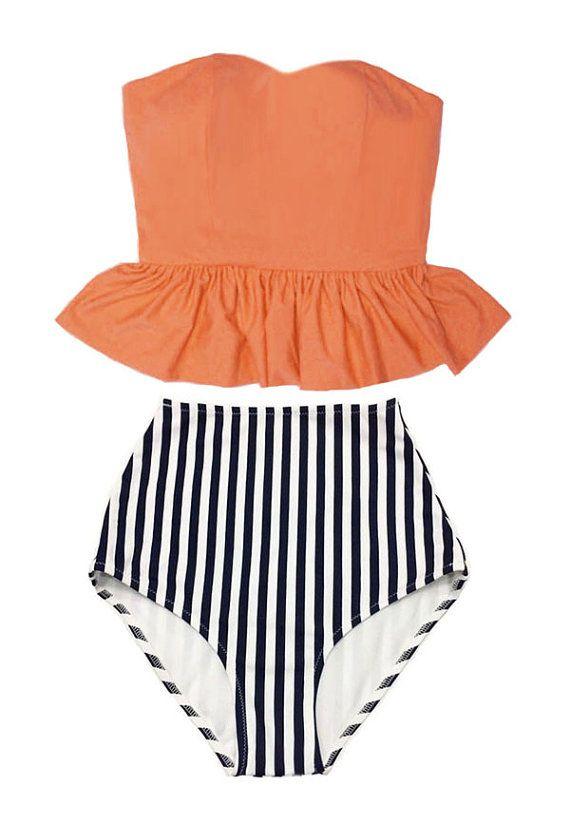 Old rose Orange Long Peplum Top and Navy Blue White Striped Vertical Vintage High Waist Waisted Swimsuit Bikini Bathing Swim wear suit M L