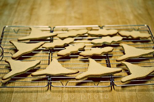 witch's hats and bats cookies cooling down...