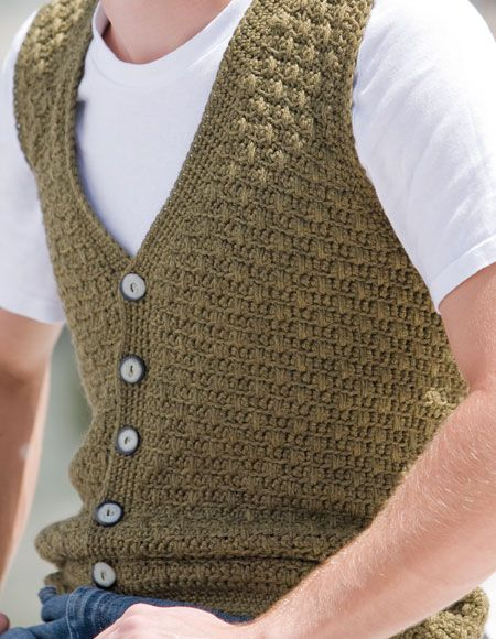 Men's Swish Crochet Vest - Knitting Patterns and Crochet Patterns from KnitPicks.com
