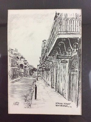 St Peter Street New Orleans French Quarter Matted Art Print Brent McCarthy 1981