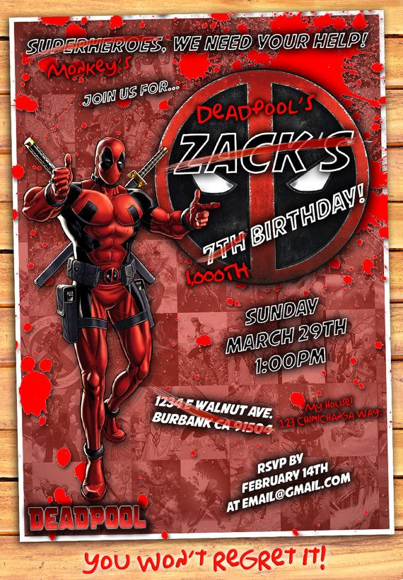 deadpool birthday invitation deadpool invitation by