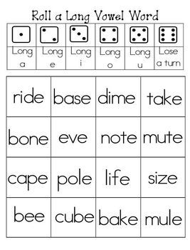 This is a fun little activity that can be played with a friend or alone.  Student roll the die and find a word that corresponds to their roll.  Enjoy this free sample.  Keep a look out for the complete set coming soon.