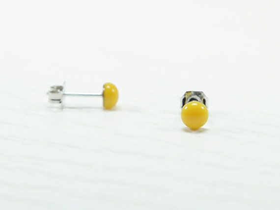 Yellow  Stud Earrings 4mm  Yellow Tiny Studs  Yellow by biesge,  http://www.biesge.etsy.com/ #earrings #studearrings #studs #earstuds #brightearrings #brightstuds #dotearrings #dotstuds #tinyearrings #tinystuds #jewelry #fashion #accessories