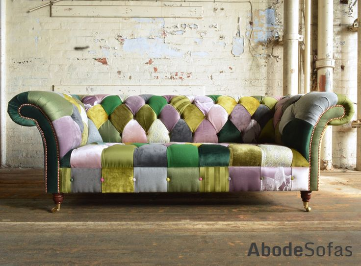 Modern British Handmade Bold Pink & Green Patchwork Chesterfield Sofa. Totally Unique Fabric.  | Abode Sofas
