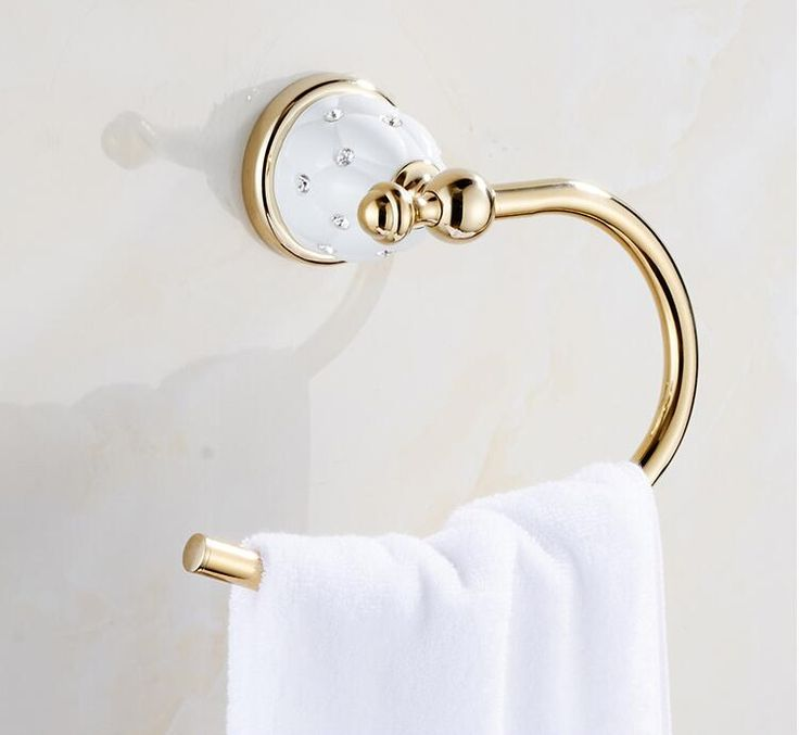 Modern Towel Ring Solid Brass Copper Golden Finished Bathroom Accessories Products ,Towel Holder Free Shipping