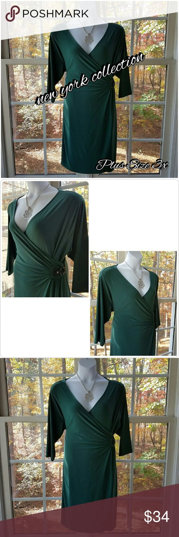 🆕NY Collection Plus Size 3x Glamorous Green Dress I think even Fergie would approve of this glamorous hunter green dress!  Wrap Style 3/4 Length Sleeves Slips on over your head, no closures  Beautiful faux leather and metal buckle 94% Polyester and 6% Spandex  Handwash Cold Measurements to be added   Please let me know if you have any questions. Thank you for looking! Xoxoxoxo NY Collection Dresses