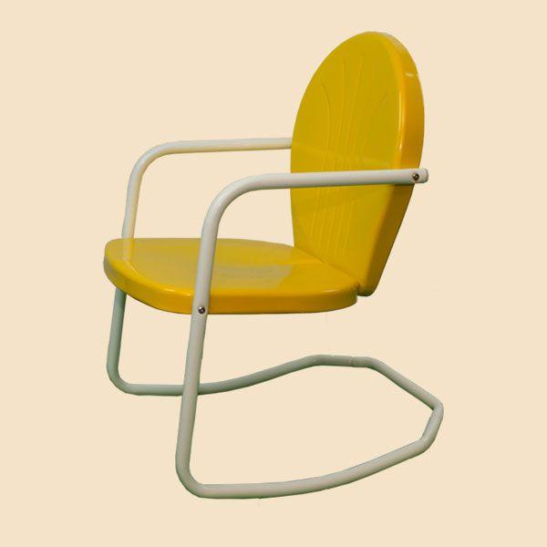 Retro metal chairs, retro metal lawn chair, metal lawn glider, double glider, single seat glider, metal side table, patio table, bar table, metal patio table, metal bar table, vintage new 50s style metal lawn