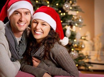 Christmas  Happy Couple at home celebrating Christmas  Stock Photo - 16717249