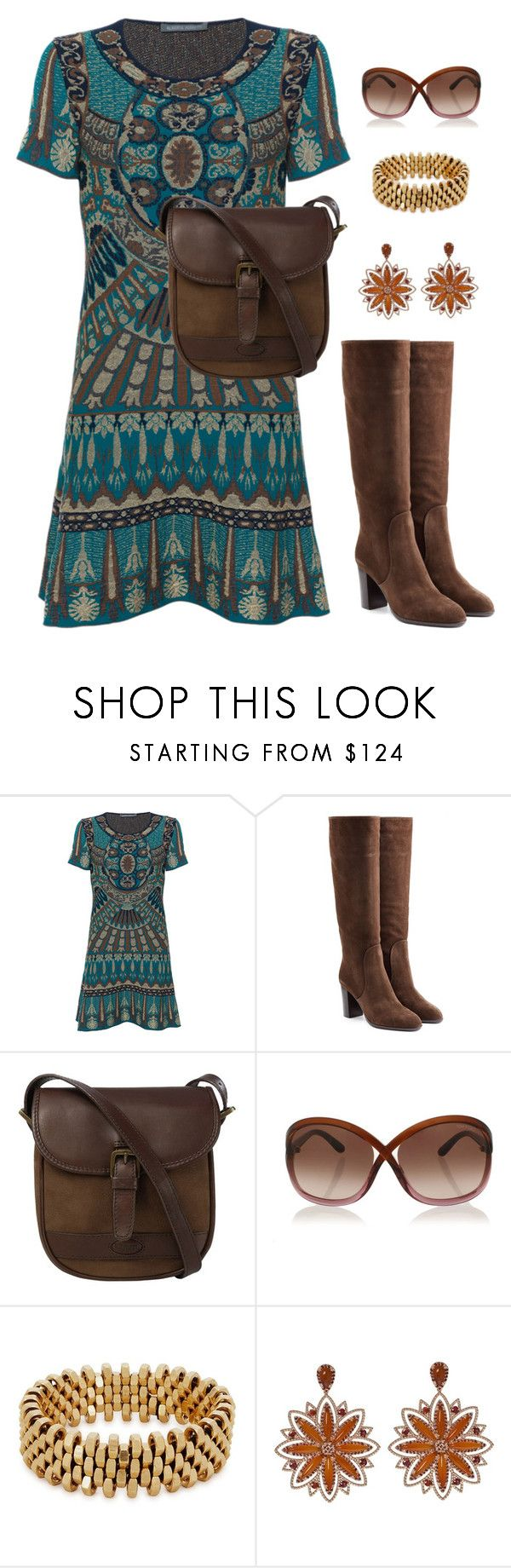 """""""Brown bag"""" by holgal ❤ liked on Polyvore featuring Alberta Ferretti, Sergio Rossi, DUBARRY, Tom Ford, Alice Menter and Carla Amorim"""