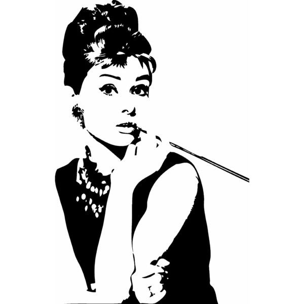Audrey Hepburn Breakfast at Tiffany's Wall Sticker Decal Silhouette... ($9.95) ❤ liked on Polyvore featuring home, home decor, wall art, people, fillers, art, extra, black home decor, audrey hepburn wall art and silhouette wall art