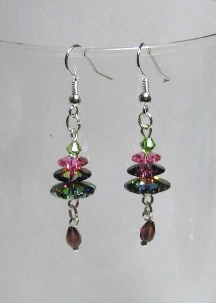 Margarita Crystal Tree Ear Rings - Jewelry creation by Linda Foust