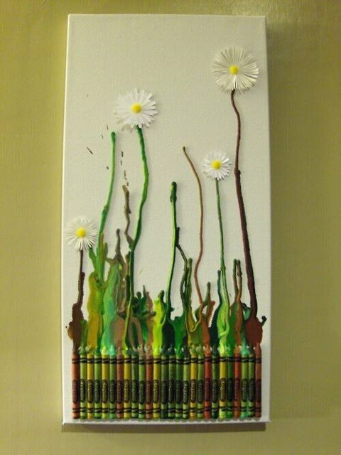 Amazing woodland daisy wall-art. HOW TO : glue down to a canvas green/brown crayons, and use a hair dryer to melt them to create the 'stems' of the flower. Then either create or buy paper daisies and glue them at the top of the stems. Easy, and perfect xx