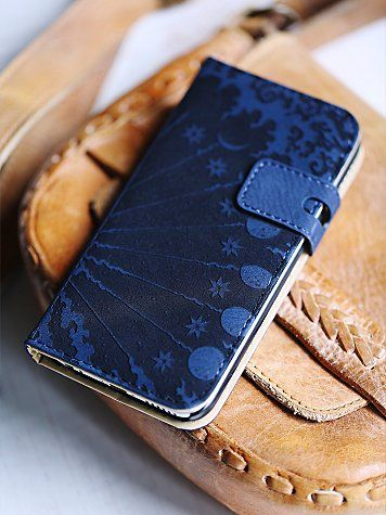 Icon Navy Blue Leather Iphone Case