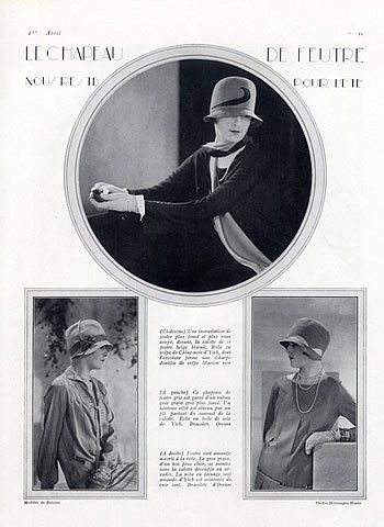Yteb (Dresses) & Caroline Reboux (Hats) 1927 Photo Hoyningen-Huene