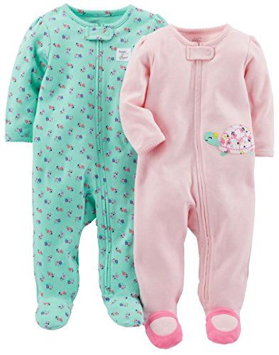 038c6420f3d7 baby Simple Joys by Carter s Girls  2-Pack Cotton Footed Sleep and ...