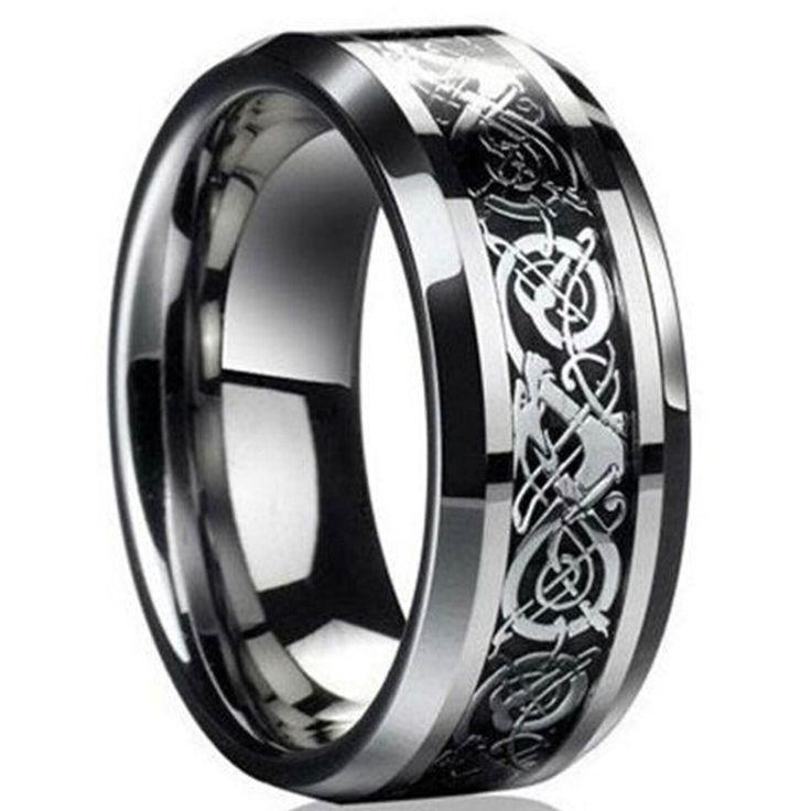 Freeshipping nuovo punk anello per l'amante di fidanzamento Vintage Drago Anello di acciaio Al Tungsteno per Gli Uomini e le donne signore degli anelli di Nozze