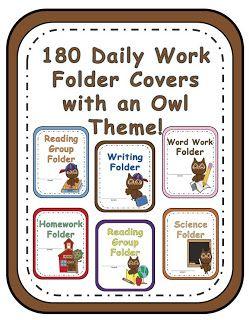 Fern Smith's Classroom Ideas!: My New Owl Themed Daily Work Folder Covers!