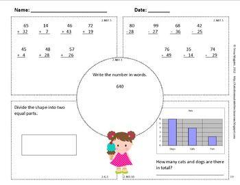 2nd Grade Math Spiral Review   2nd Grade Math Warm Up   2nd