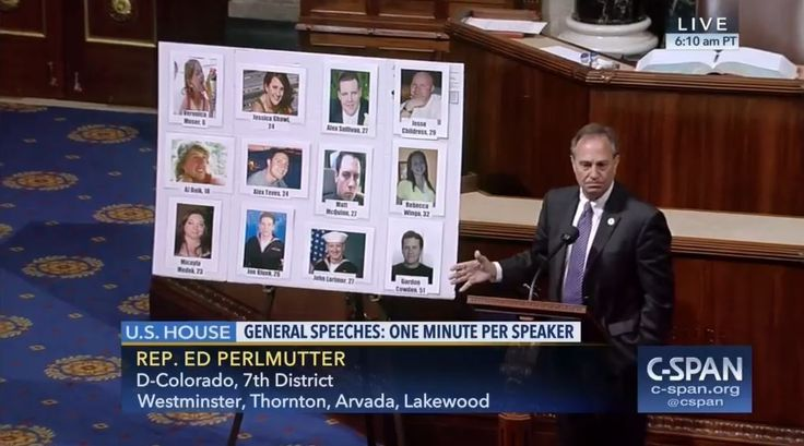 Who: Representative Ed Perlmutter (D-Colorado)  When: July 2017  What: Anniversary of Colorado shooting  Watch on C-SPAN  Read Congressional Record