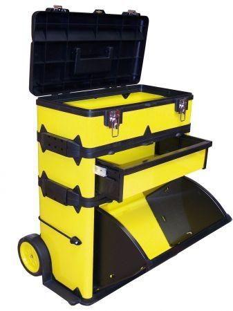 Metall Werkzeugtrolley mit klappbare Box , 660 x 570 x 380 mm gelb