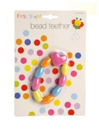 £0.99 - First Steps Bead Teether   First steps bead teether is a very Soft and brightly-coloured item. The beads spin independently; each bead to move freely, but can not break loose. The teether invites little fingers to touch and little mouths to bite. Babies love these bright teething beads. They help ease teething discomfort.  Wash and rinse thoroughly before first use. Wash regularly with warm soap water and rinse thoroughly.