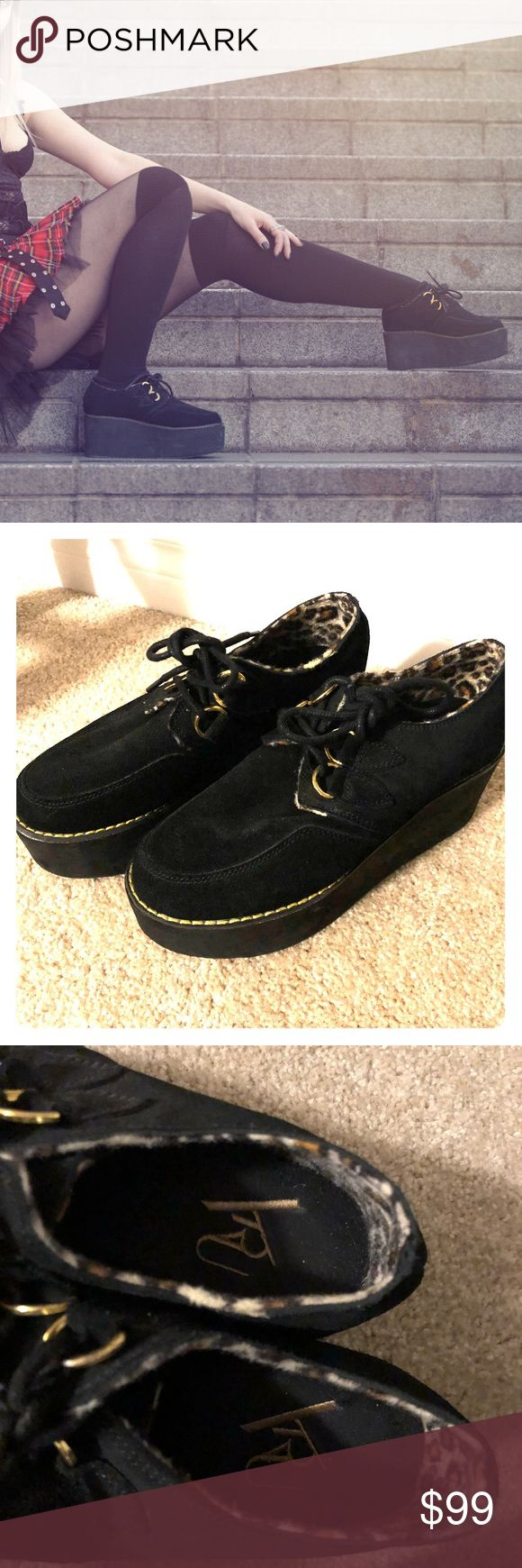 YRU platform creepers black leopard size 6 Almost new (worn once for a photo shoot) yru black and leopard (inside) platform creeper shoes. (All photos are of the actual shoes for sale including the cover photo) size 6  Please feel free to ask questions! YRU Shoes Platforms